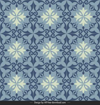 tile pattern template retro symmetrical floral decor