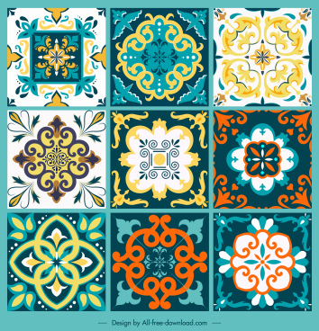 tile pattern templates classical symmetric shapes