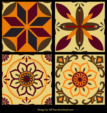 tile pattern templates classical symmetrical flat flora decor