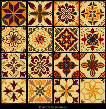 tile pattern templates collection classical symmetric flora sketch