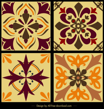 tile pattern templates retro design symmetrical petal sketch