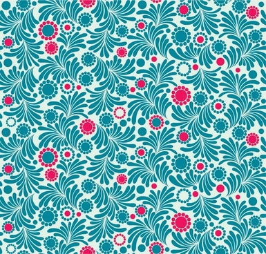 flowers pattern classical flat blue red decor
