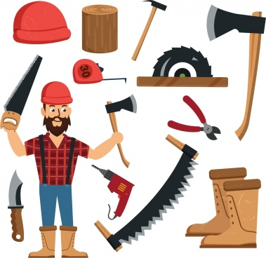 timber work design element male tools icons