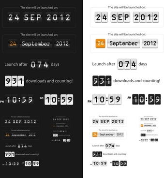 time and date display boards psd layered
