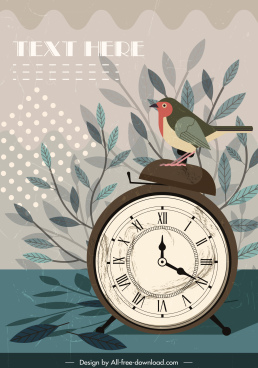 time background vintage design clock bird decor