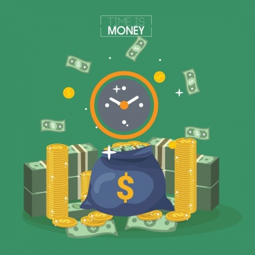 time conceptual banner money coin icons decor