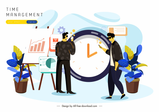 time management poster men clock business elements sketch