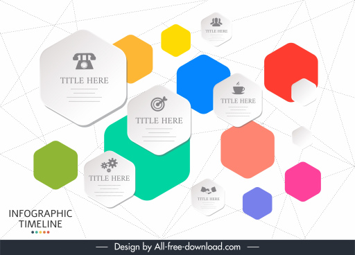 timeline infographic templates colorful flat polygon tags decor