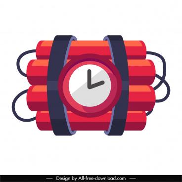 timing bomb icon firecracker clock sketch