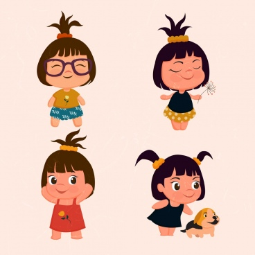 tiny girls icons collection cute colored cartoon design
