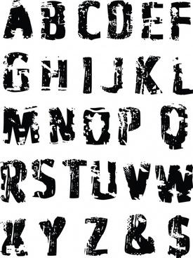 tire prints vector english alphabet