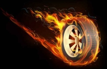 tires with flame background vector