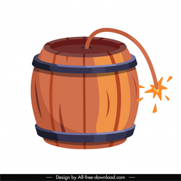 tnt bomb icon burning wooden barrel sketch