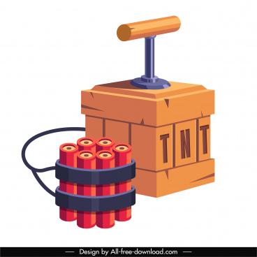 tnt explosive icon colored 3d sketch