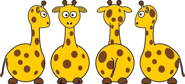 Tobias Cartoon Giraffe Front Back And Side Views clip art