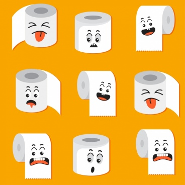 toilet paper roll icons cute emotional stylized decor