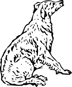 Tom Waiting Dog Lineart clip art