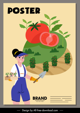 tomato advertising banner farmer agricultural product sketch