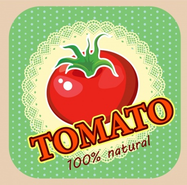 tomato advertising classical colored design texts decoration