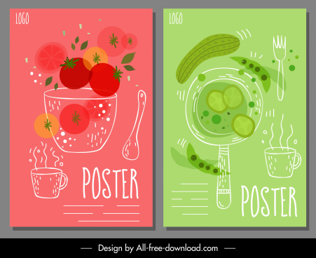 tomato cucumber beverage poster templates colorful handdrawn sketch