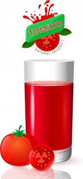 tomato juice advertising red fruits glass logo decoration