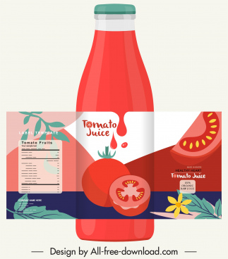 tomato juice label template red decor classic design