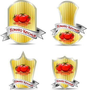 tomato ketchup labels vector
