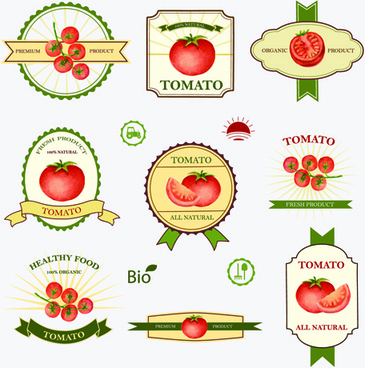 tomato labels vintage vector