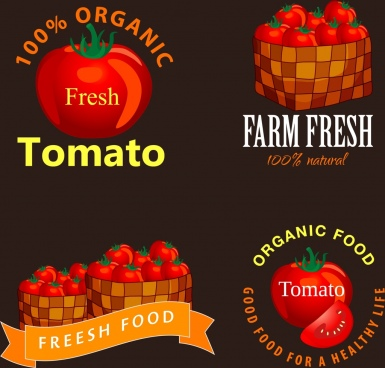tomato logotypes collection shiny dark red design