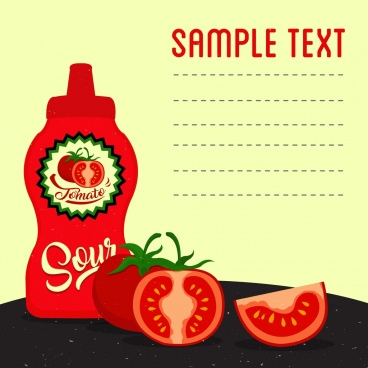 tomato sauce advertisement red icons decoration