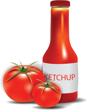 tomato with ketchup vector