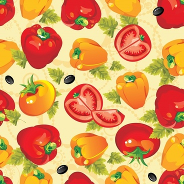 healthy food pattern repeating colorful tomato chili olive sketch
