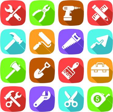 tool flat icons set