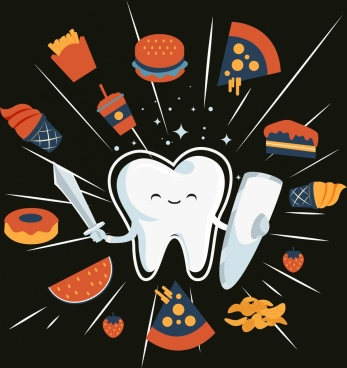 tooth protection banner stylized icons food decor