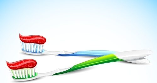 dental background tooth brush cream icons 3d decor