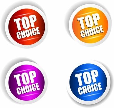 Top Choice Sticker Vector Set
