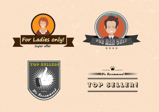 top seller logos set vector with vintage style