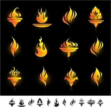 torch icons collection sparkling yellow flat shapes