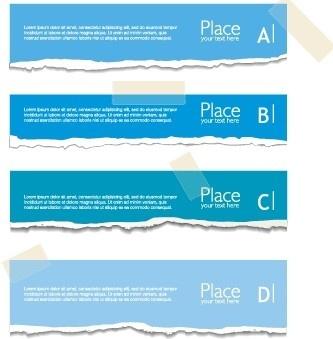 torn paper colored banner vector set