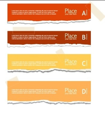 torn paper colored banner vector set