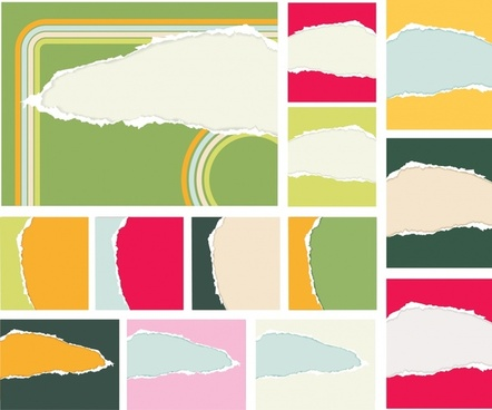 ragged paper background templates colorful realistic design