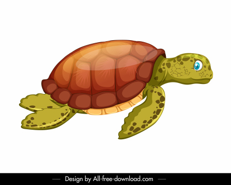 tortoise icon colored cartoon sketch shiny modern design