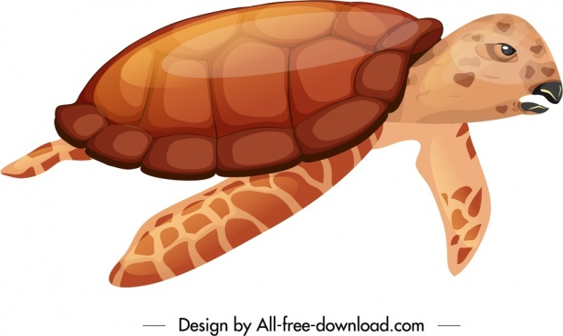 tortoise icon shiny red design swimming gesture