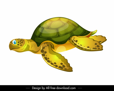 tortoise icon swimming sketch shiny colored cartoon sketch