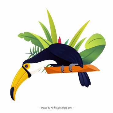 toucan bird icon bright colorful design cartoon sketch