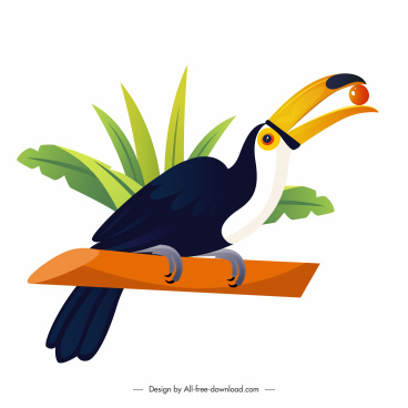 toucan bird icon bright colorful design perching gesture