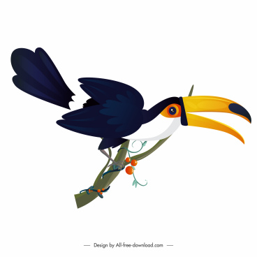 toucan bird icon modern colorful design cartoon sketch