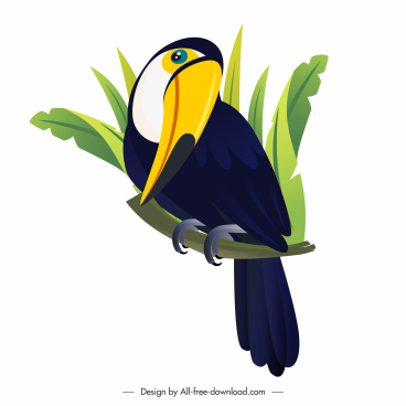 toucan bird icon perching sketch cartoon design
