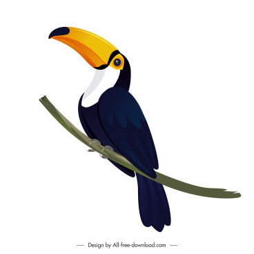 toucan icon perching gesture bright modern design