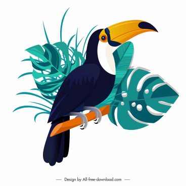 toucan icon perching sketch leaves decor